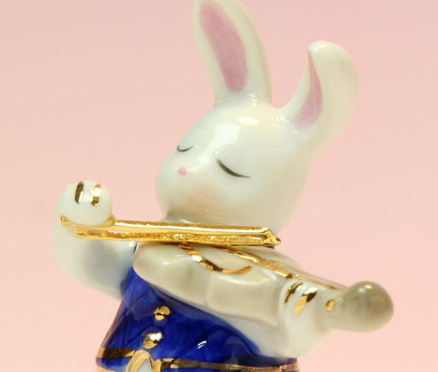 音楽雑貨 磁器 フィギュア ドリーズラビット Dolly's rabbit ヴァイオリン 弦楽器 うさぎ