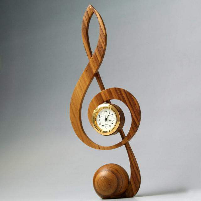銘木 置き時計 ト音記号 音楽雑貨 音楽グッズ 音楽ギフト