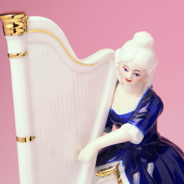 レース人形 ハープ harp 楽器のオルゴール 音楽雑貨 音楽ギフト 音楽グッズ