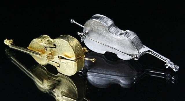 コントラバス ベース 弦楽器 SV925 シルバーブローチ 音楽雑貨 音楽グッズ 音楽ギフト 楽器グッズ