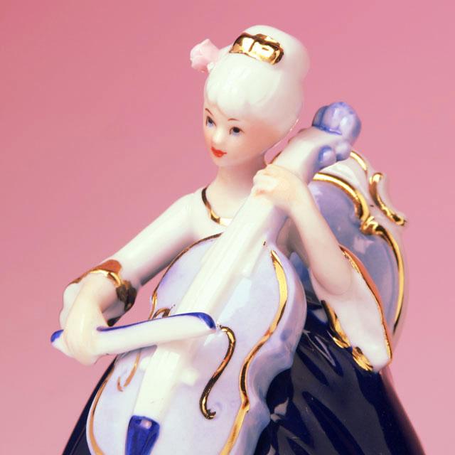 レース人形 チェロ violoncello Vc 弦楽器 楽器のオルゴール 音楽雑貨 音楽ギフト 音楽グッズ