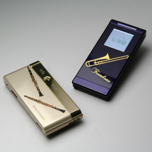 蒔絵風 携帯ステッカー 楽器 使用例 音楽雑貨 音楽グッズ 音楽ギフト