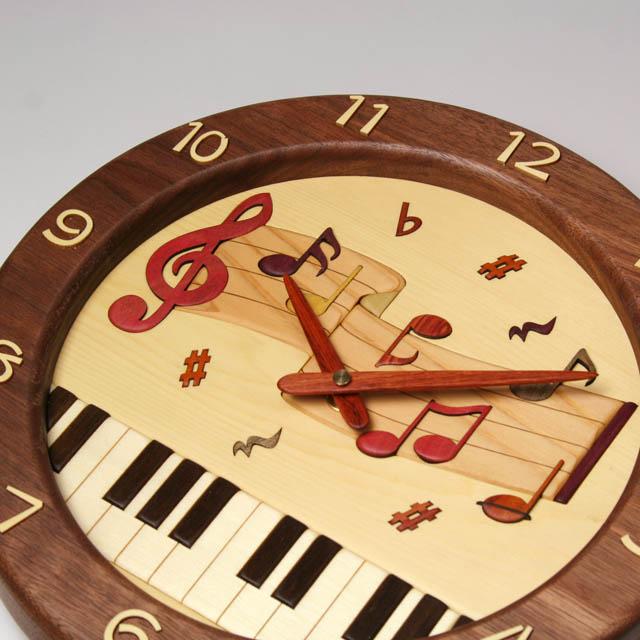 鍵盤 音符 ト音記号 寄せ木 象嵌 振り子時計 音楽雑貨 音楽グッズ 音楽ギフト