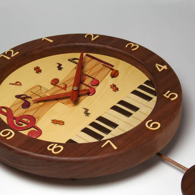 鍵盤 ト音記号 音符 寄せ木 象嵌 振り子時計 音楽雑貨 音楽グッズ 音楽ギフト