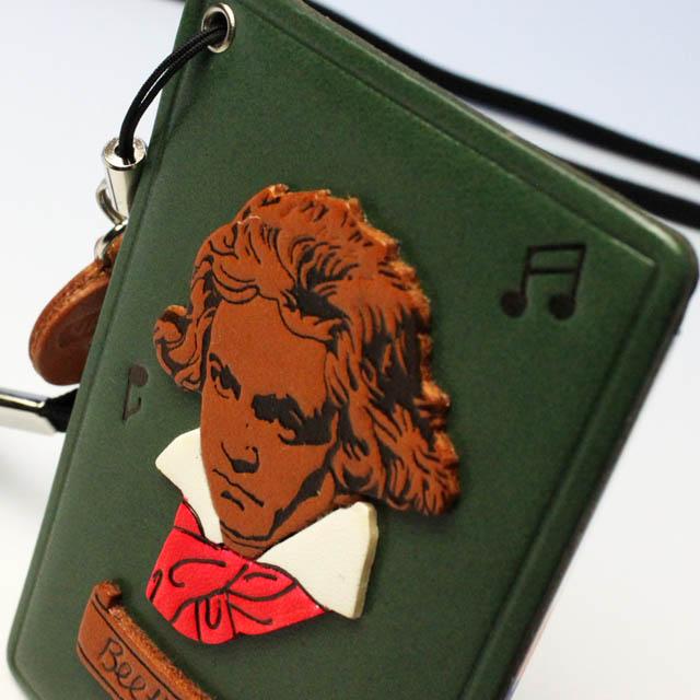 本革製 パスケース 定期入れ ベートーヴェン 音楽雑貨