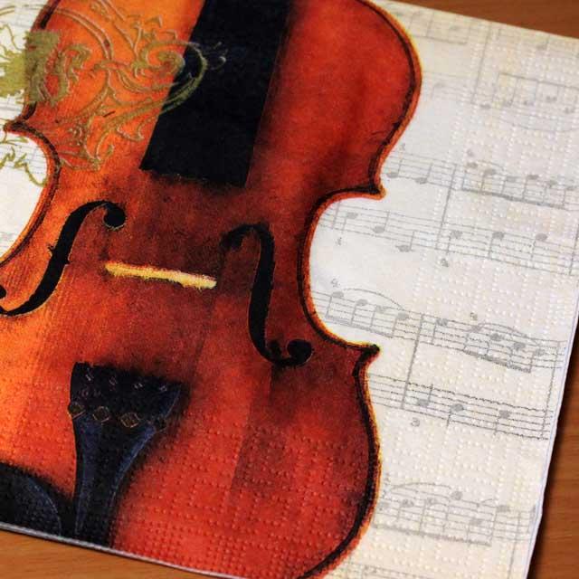 ヴァイオリンと楽譜 ペーパーナプキン 音楽雑貨 音楽グッズ