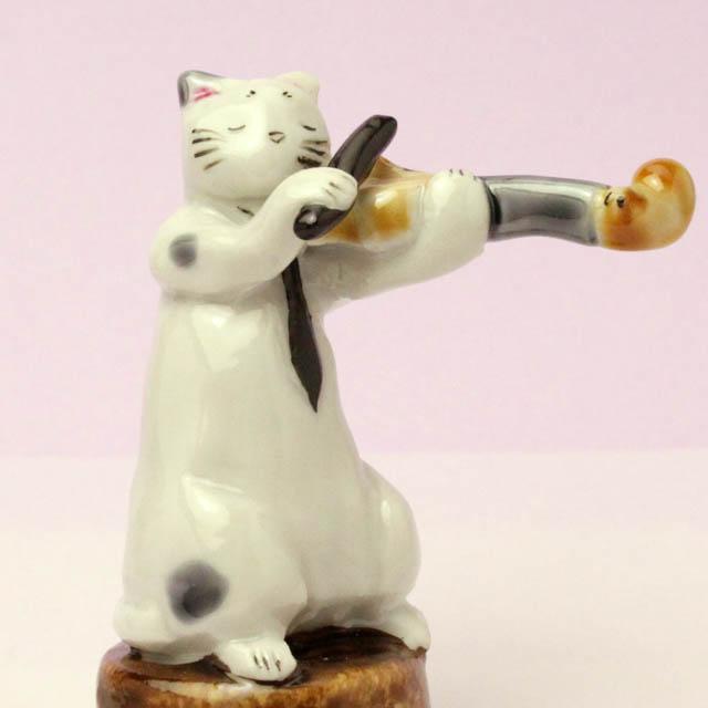 九谷焼 猫JAZZ ヴァイオリン 音楽雑貨 音楽グッズ