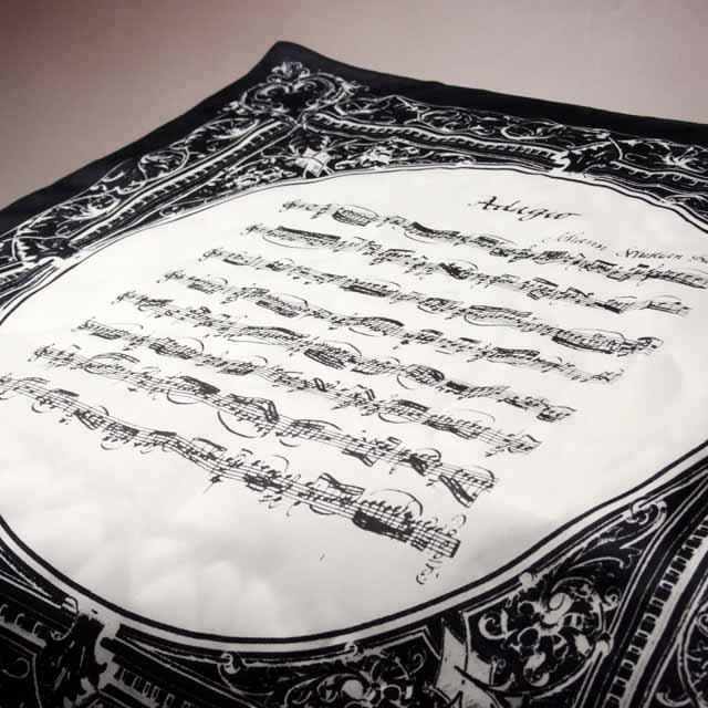 バッハ 無伴奏ヴァイオリンのためのソナタ第1番 Adagio ハンカチ 音楽雑貨