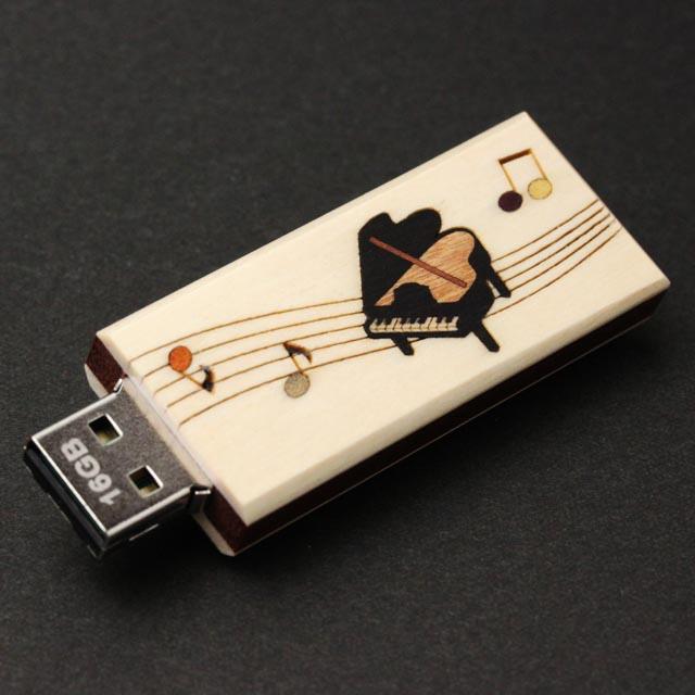 寄木象嵌 USBメモリ グランドピアノ 音楽雑貨 音楽グッズ