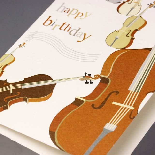 誕生カード バースデーカード 弦楽器 音楽雑貨