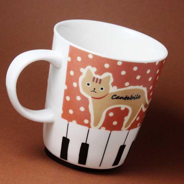 ネコ ピアノ鍵盤 発想記号 音楽グッズ マグカップ 音楽雑貨