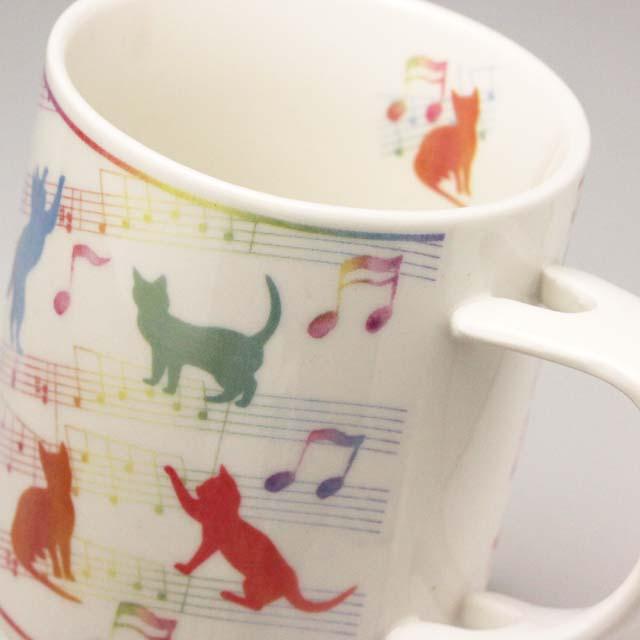スプーン付ギフトマグ Cat & Music 音楽雑貨 音楽グッズ